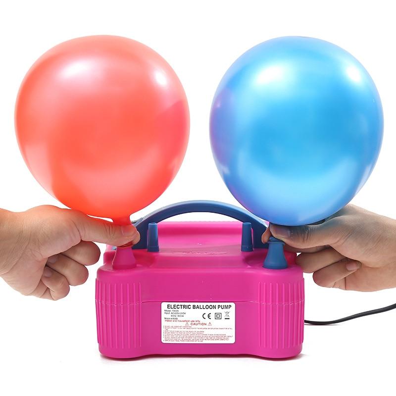 110/220V enchufe de doble agujero AC inflable eléctrico globo bomba de aire globos bomba eléctrica de cumpleaños bomba infladora de globos globo
