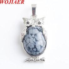 Eagle Animal Necklaces & Pendants Girl Chakra Reiki Natural Snow Oval Convex Gem Stone Beads Jewelry WOJIAER PN8063