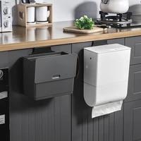 2 in 1 wall mounted trash can removable tissue box space saving dustbin storage bucket durable garbage bin kitchen trash bin