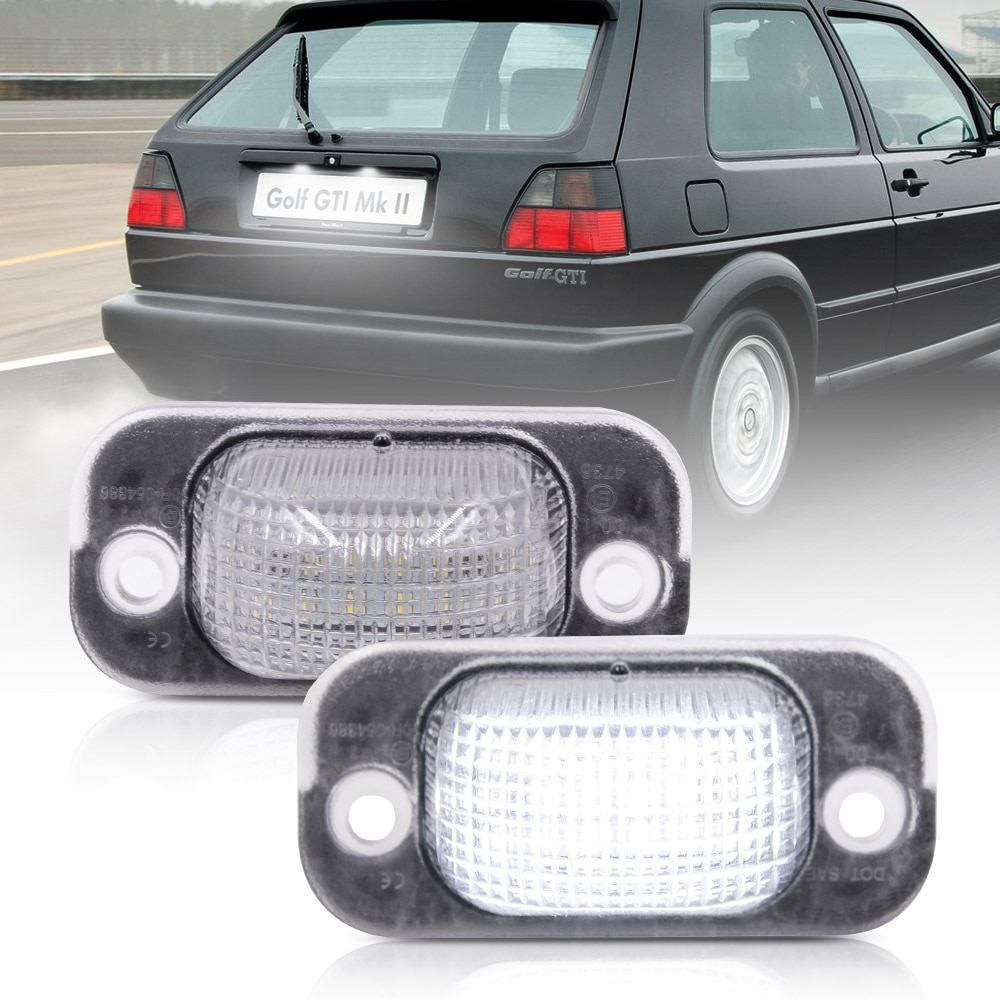 2pcs White Car LED Rear License Number Plate Lights Canbus 12V For VW Golf II 1983-1992 Jetta 1984-1