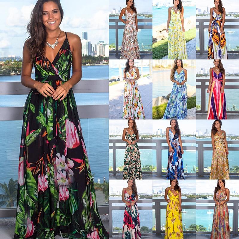2020 Multicolor Tropical Jungle Leaf Boho Long Dress Sling Cross Back Women V neck Party Night Elegant Sexy Maxi Summer Dresses