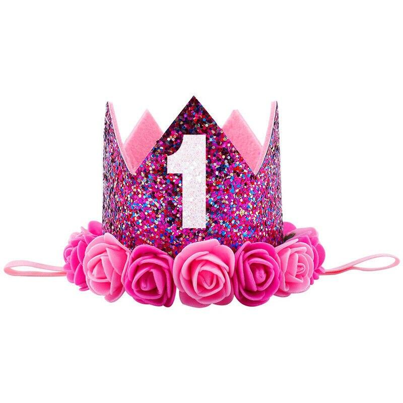 Bonito festa de aniversário decoração boné coroa princesa bandana elástica haarband roupas de bebê acessório de cabelo do bebê menina bandana 1-3 anos