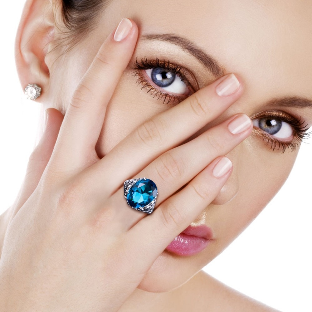 Anillos grandes hechos a mano con diseños de anillos grabados de amor Aneis joyería fina guay 100% Topacio azul plateado Vintage para mujer
