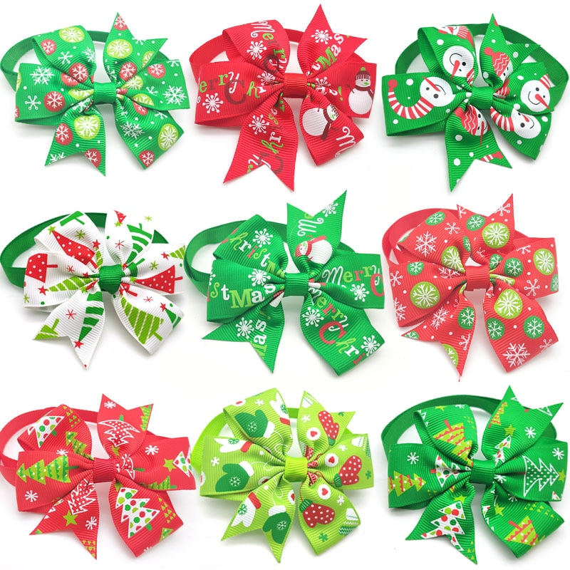 30/50 Pc Christmas Pet Dog Grooming Product Holiday Party Christmas Puppy Dog Bow Tie Necktie Pet Su