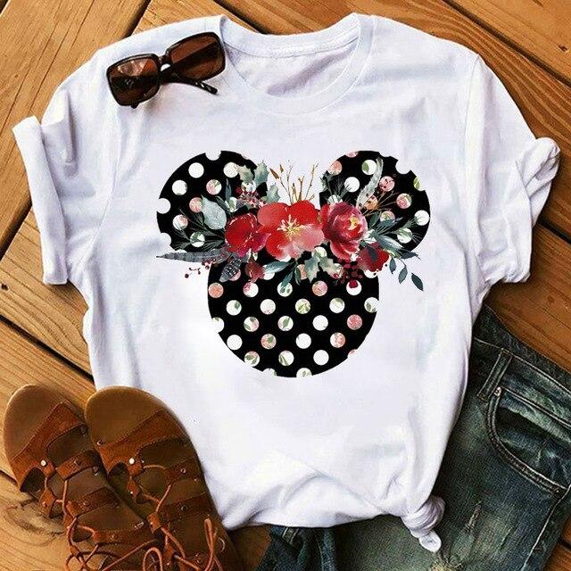 Camisetas de mujer, camiseta bonita estampada, camiseta de mujer de verano de manga corta con flores y orejas, camiseta gráfica a la moda, Tops, camiseta femenina, ropa