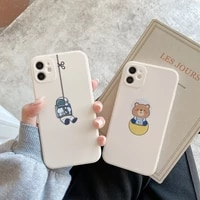 cute bear cartoon astronaut phone case for iphone 11 12 pro max xr xs max x 7 8 plus side printing soft tpu lovely back cover