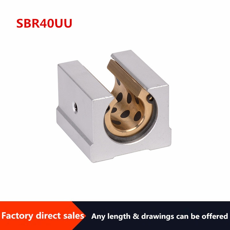 1pcs  SBR40UU graphite copper sleeve slider  Oil-free self-lubricating block  for SBR40 CNC parts