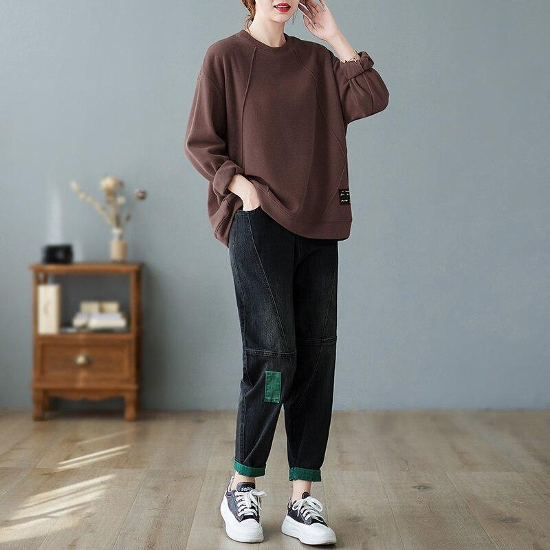 Джинсы-оверсайз, повседневный осенний Новый свитер 2021, универсальный Свободный Топ с круглым вырезом, шаровары с нашивками, костюм