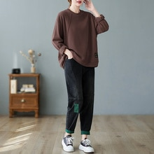Oversized Jeans Casual 2021 Autumn New Sweater round Neck Loose All-Matching Top Patch Harem Pants S
