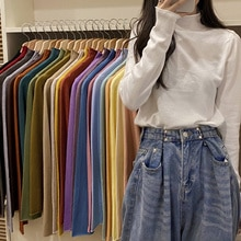 Knitted Long Sleeve T-Shirt Bottomed Shirt Women's Wear With Cotton T Shirt  In Spring And Autumn 20