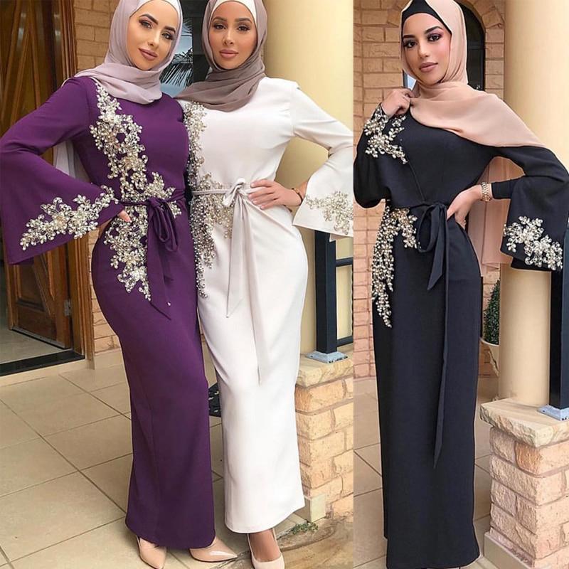 عيد مبارك عباية دبي تركيا مسلم الحجاب فستان قفطان الإسلام ملابس عبايات فساتين للنساء رداء Musulman فام Vestidos