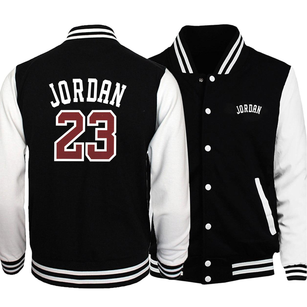 Offre spéciale hommes Baseball uniforme manteau 2019 automne Bomber veste Jordan 23 imprimer Streetwear survêtement de sport hanche chaude hommes marque manteaux
