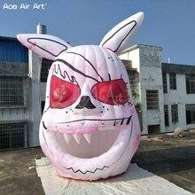 3.5M Hoog X 2.8M Breed Opblaasbare Bunny Suicides Met 2 Pcs Lights Aangepaste Halloween Volledige Afdrukken Model Op korting
