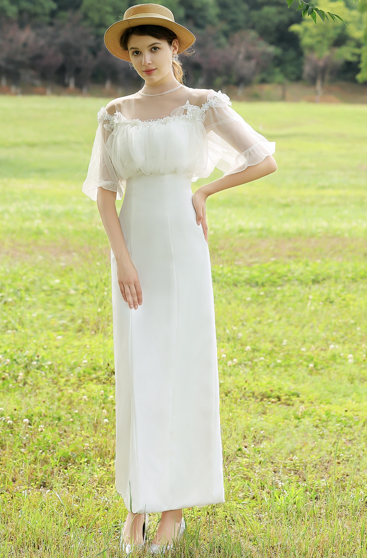 Get Puff Sleeve Sheath Wedding Bridal Gown Satin Women Chic Empire Illusion Neckline Ankle Length 2021 Spring New Arrival 2995#