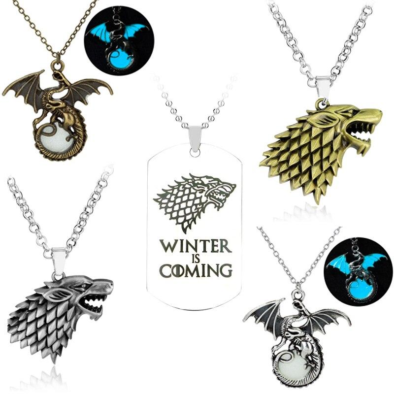 Горячая Распродажа, ожерелье с изображением Игры престолов, дом Старка, волка, логотип, металлическая круглая подвеска, зима, собака, бирка, ожерелья, ювелирные изделия
