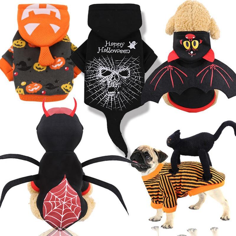 Disfraz de perro Halloween ropa para perros pequeños grandes perros abrigo de invierno cálido Bulldog francés ropa para mascotas ropa de fiesta de murciélago gato