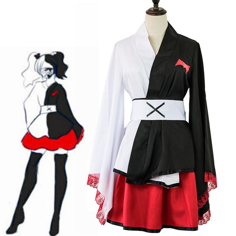 Anime Danganronpa Monokuma chicas Dangan Ronpa Cosplay vestido negro y blanco oso Kimono Cosplay mujeres Anime traje