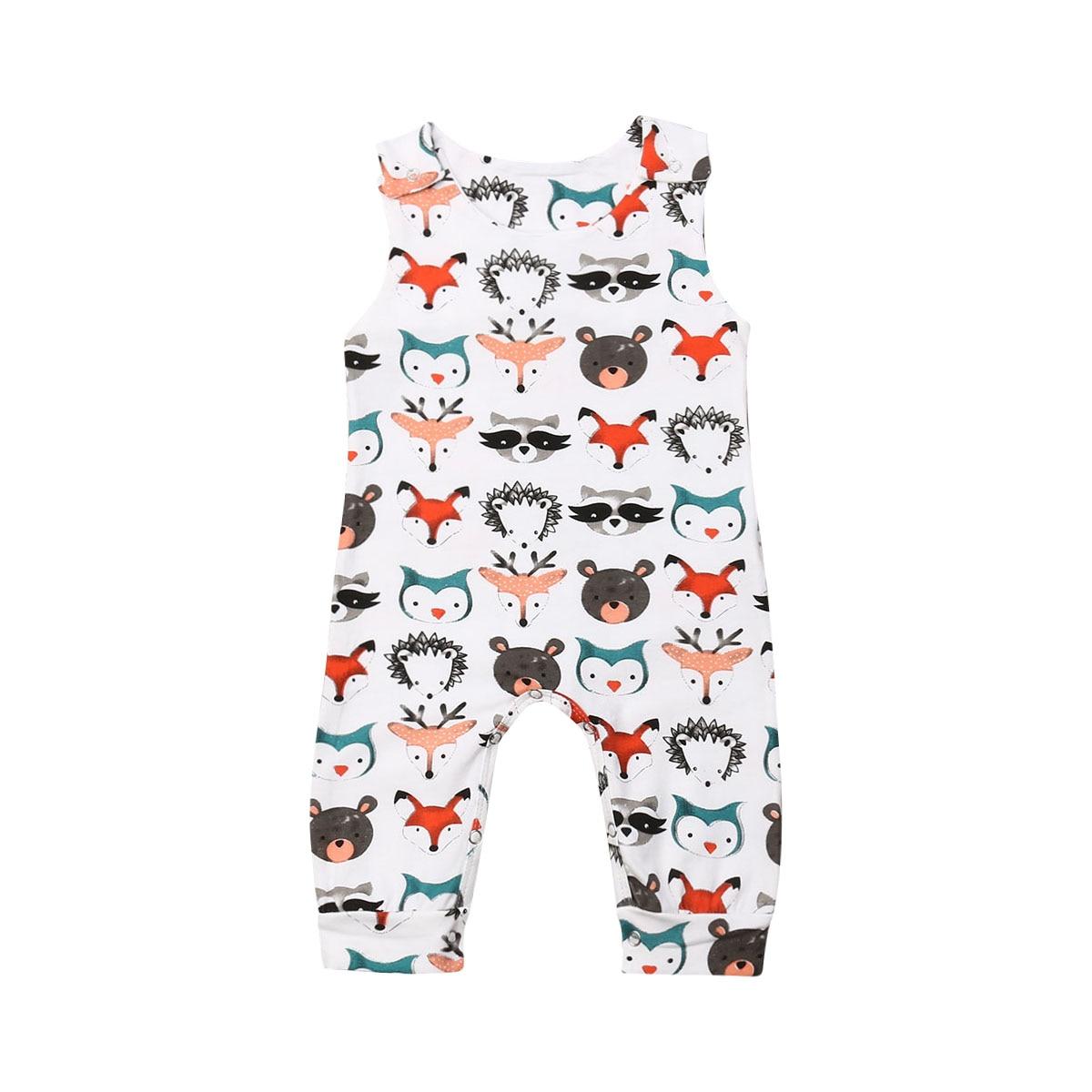 Mono de una pieza con patrón de animales de dibujos animados para recién nacidos