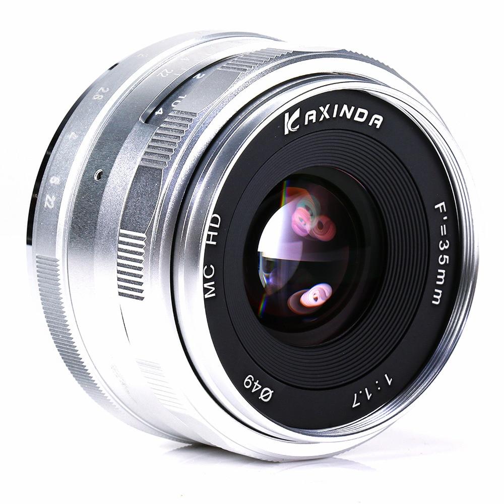 35mm F1.7 Large aperture Manual Lens for Fujifilm Fuji X-T1 XT1 X-pro1 X-pro1s X-E2 XE2 X-E1 X-M1 X-A1 X-A2 Camera silver&hood enlarge