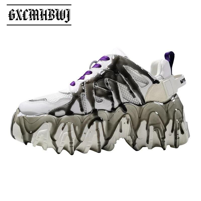 حذاء رياضي نسائي فاخر ذو نعل عريض من GXCMHBWJ Ins حذاء نسائي من الجلد الطبيعي بلون أسود وأبيض مختلط برباط علوي سميك بلون واحد