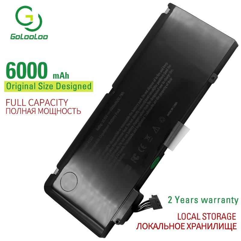 """Golooloo 6000 mah 10.95 v a1322 nova bateria do portátil para apple macbook pro 13 """"a1278 meados de 2009 2010 2011 2012 mb990ll / a mb991ll / a"""
