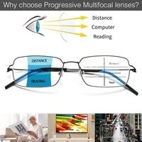 titanium alloy mens progressive multi focus square anti blue reading glasses optical frame prescription korean no screws glasse