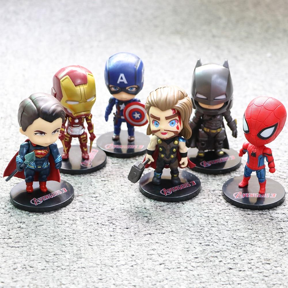 6 unids/set 10cm Marvel nuevos vengadores infinity war Thanos Spiderman Iron Man Batman Capitán América figuras de acción de juguete niños muñecas