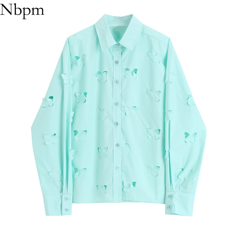 Nbpm Spring 2021 Women's Clothing Hollow Out Blouses Butterfly Shape Top Long Sleeve Shirt Blusas Mujer Sweet Female Elegant Top