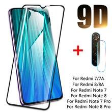 9D temperli cam Xiaomi Redmi için not 8 7 8T Lens kamera cam ekran koruyucu için Redmi 7 7A 8 8A Redmi için not 8T 7 8 Pro