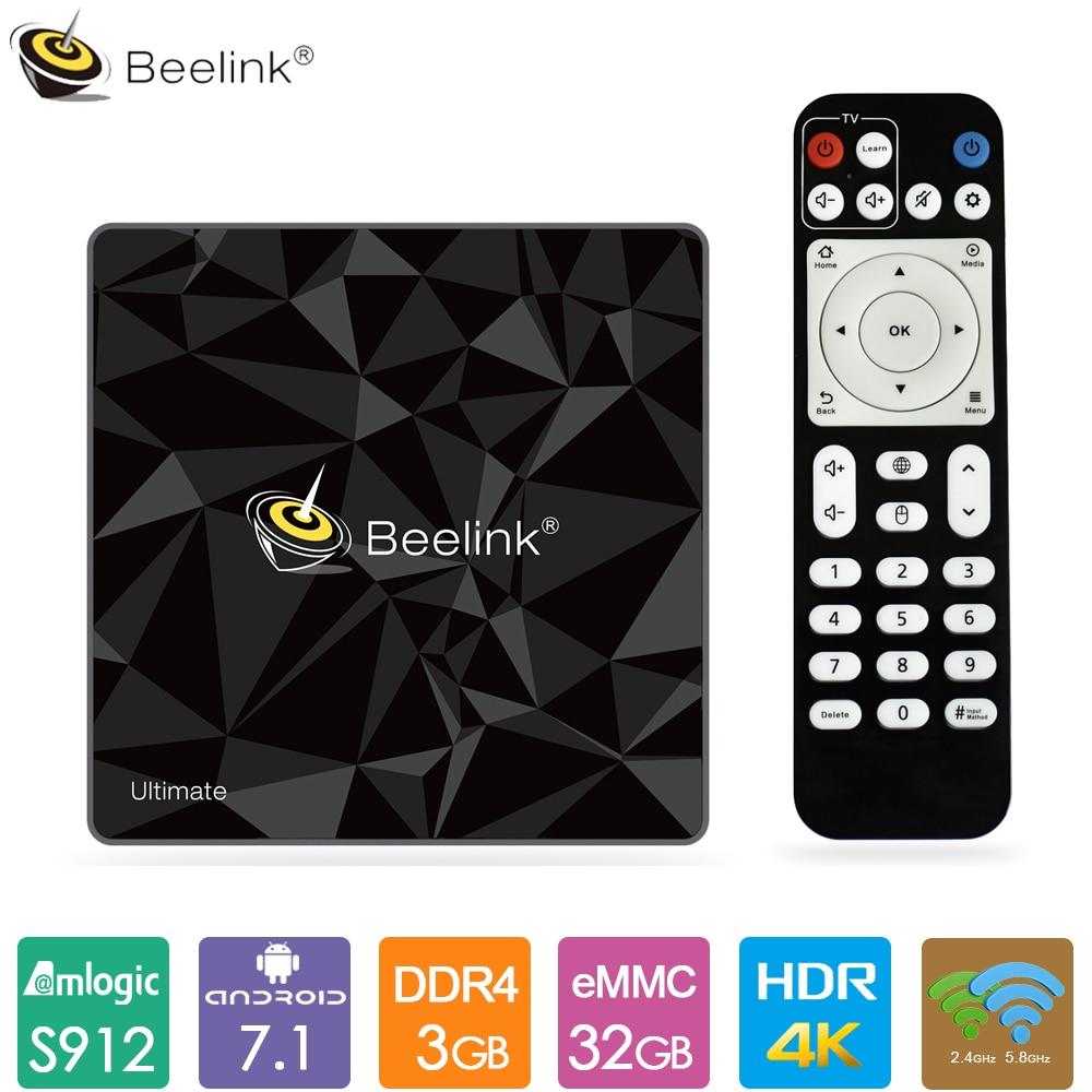 Beelink GT1 Ultimate Android 7,1 TV caja Amlogic S912 Octa Core CPU 3GB DDR4 RAM 32GB ROM Bluetooth 4,0 Set Top Box reproductor multimedia