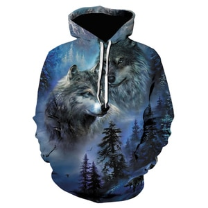 Hot Sale New Autumn winter wolf Hoodie Men Women Sweatshirts 3d Print Trees Hooded Hoodies Hip Hop Pullover Tracksuits Tops