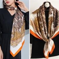 bohemia satin silk square scarf for women twill print design bandana handkerchief bag wrap shawl foulard beach sunscreen hijab