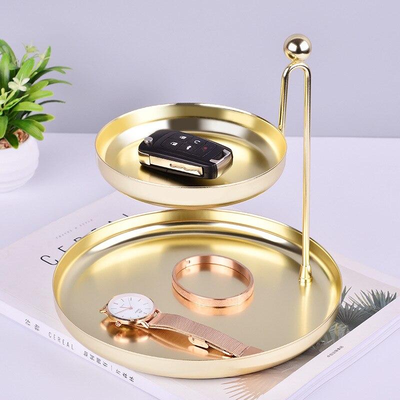 Goldene Gemalt Kosmetische Tablett Make-Up Platte Dessert Snack Tray Home Decor Hochzeit Doppel Display Stand