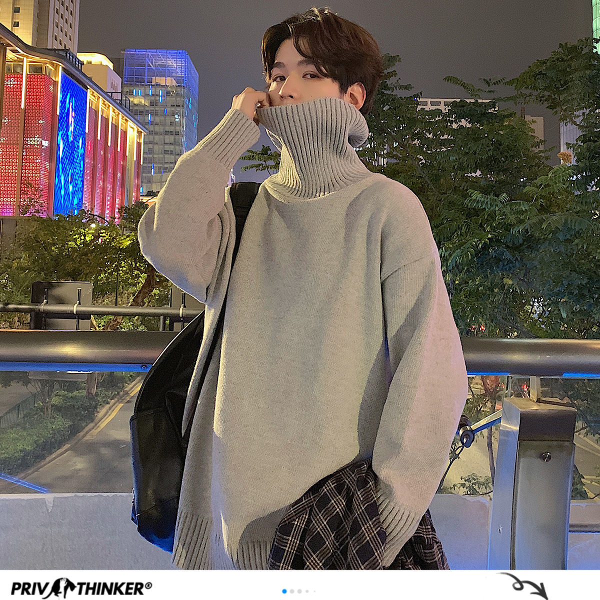 Privathinker Men's Turtleneck Sweaters 6 Solid Color Men Casual Long Sleeve Knitted Sweater 2020 Warm Tops Man Clothes XXXL