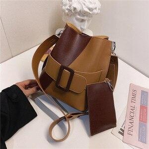 Contrast color Bucket bag 2020 Fashion New High quality PU Leather Women's Designer Handbag Vintage Shoulder Messenger Bag