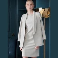 elegant autumn winter dress suit women blazer coat suit jacket and pencil midi dress two piece set office ladies work clothes