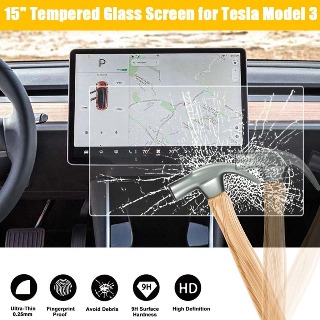 """15 """"protector de pantalla táctil para Control central de coche, película protectora para navegación de coche, protector de vidrio templado para Tesla Model 3 # N"""