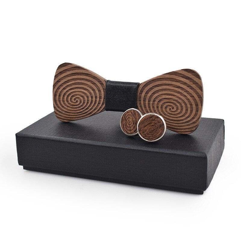 Linbaiway feito à mão laços de madeira abotoaduras conjunto homem gravata borboleta de madeira cravat festa de casamento gravatas fino neckwear acessório
