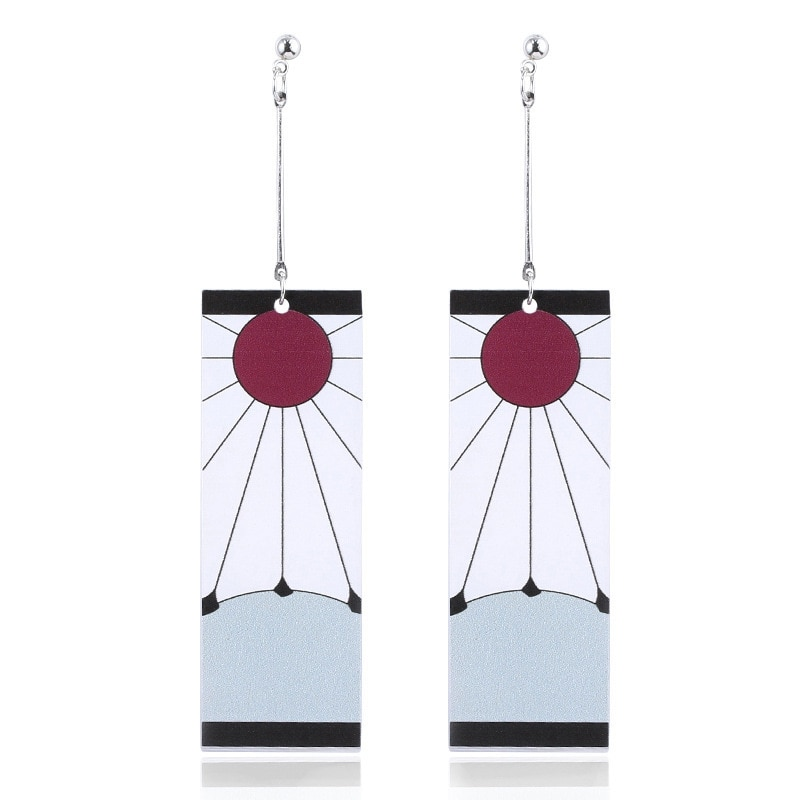 Anime Acrylic Drop Earrings Demon Slayer Kimetsu no Yaiba Blade of Ghost Earings For Women Men Cospl