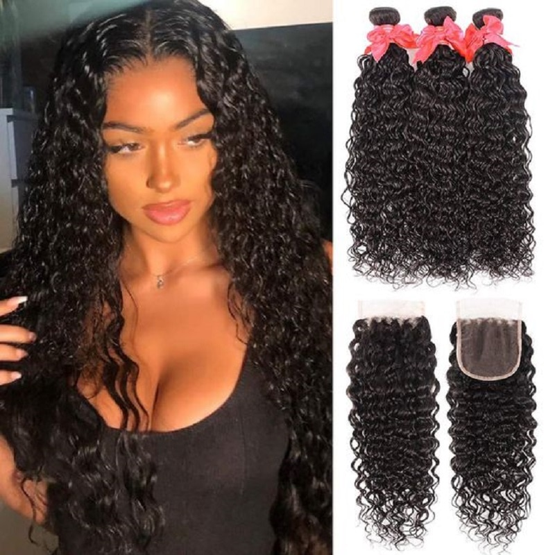 34 36 38 40 Inch Water Wave Bundles With 6x6 Lace Closure Queenlife Brazilian Wet And Wavy Curly Human Hair Bundles With Closure