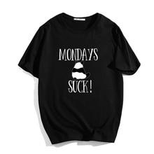 Unisex Summer Casual Mondays Suck T Shirt Men Women Cute Print O-neck T-shirt Short Sleeve Tee Tops Trendy Streetwear Clothes