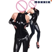 monnik latexsleeveless latex rubber catwomen bodysuit with mask and gloves club wear catsuit