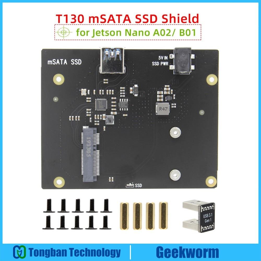 Placa de expansión de almacenamiento Jetson Nano mSATA SSD T130 con puente USB 3,1 para NVIDIA Jetson Nano Kit desarrollador A02/ B01