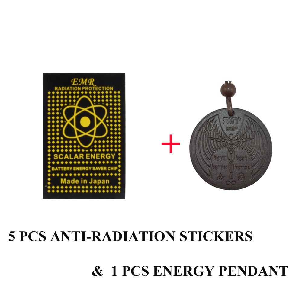 5pcs EMR Phone Sticker Anti Radiation/EMP/EMF with 1pcs Lava Pendant Gift Energy Set Free Shipping