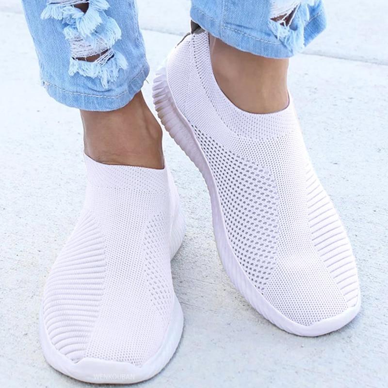 Damskie trampki damskie dzianinowe buty wulkanizowane wygodne wsuwane damskie płaski but Mesh trenerzy miękki chód obuwie Zapatos Mujer