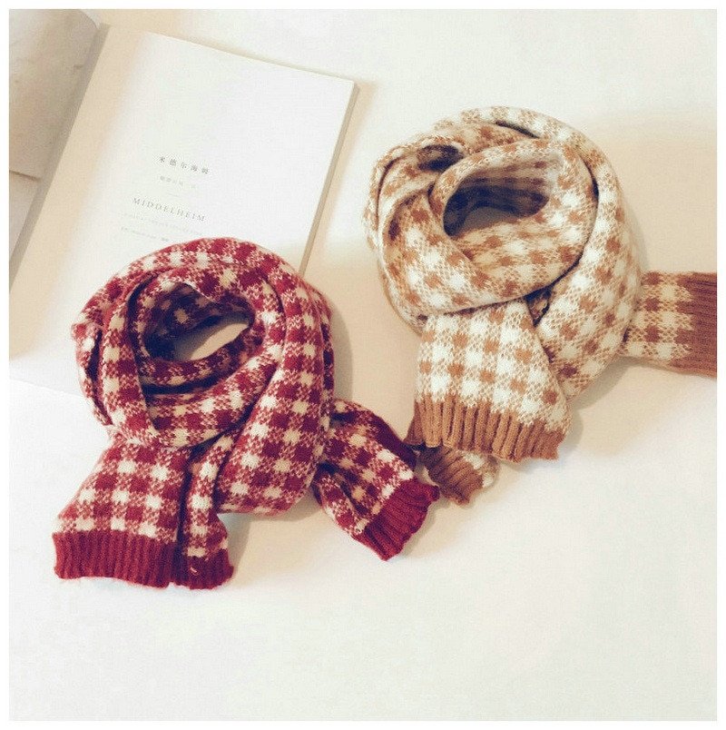 Korean Knit Wool Plaid Patchwork Soft Warm Autumn Winter Thick Kids Children Boys Girls Shawls Wraps Scarves Accessories-LHC