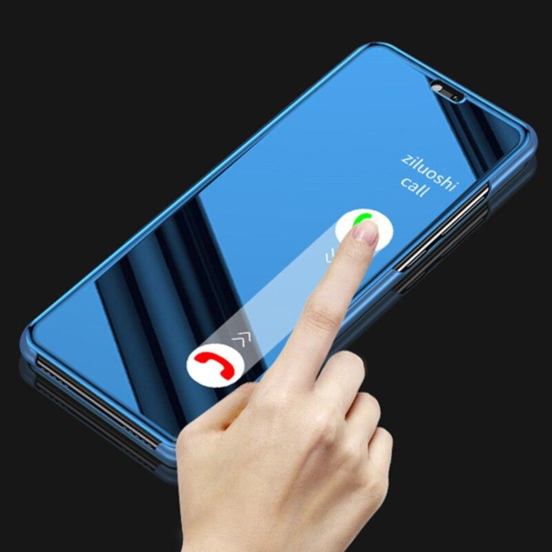 Para oneplus 7 pro 6 6t 5 t espejo de cuero soporte de teléfono funda para oneplus 7pro 6 5 t oneplus 7 oneplus 6 Smart Mirror tapa abatible Capa