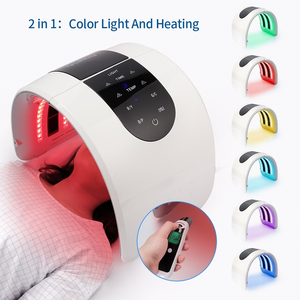 foreverlily Heating 7 Colors PDT Facial Mask Foldable Threapy Face Lamp LED Photon Skin Rejuvenation salon Home Use Skin Care