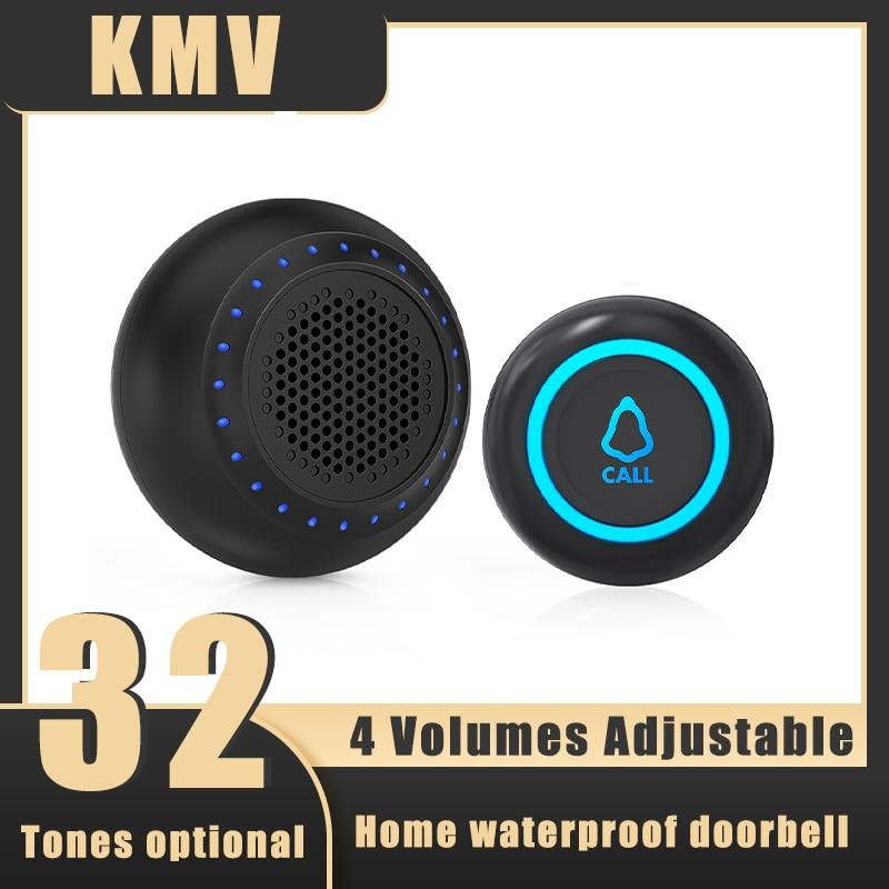 Беспроводной умный дверной звонок, водонепроницаемая дверная кнопка 433 МГц, Домашняя безопасность, цветные светодиодные колокольчики, двер...