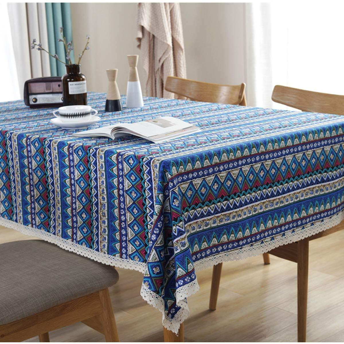 Pa.an zmywalny bawełniany lniany koronkowy styl boho geometryczny wzór kwadratowy obrus obiad obrus na stół piknikowy Home Decoration